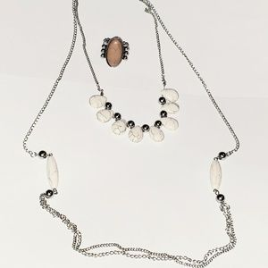 Paparazzi Necklace Ring Set White Brown Crackle